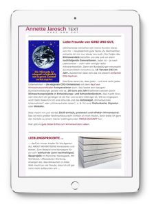 Annette Jarosch Newsletter Dezember 2017