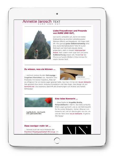Annette Jarosch Werbetext Newsletter Juni 2019