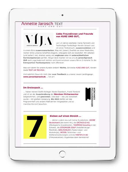 Annette Jarosch Text Newsletter Werbetext